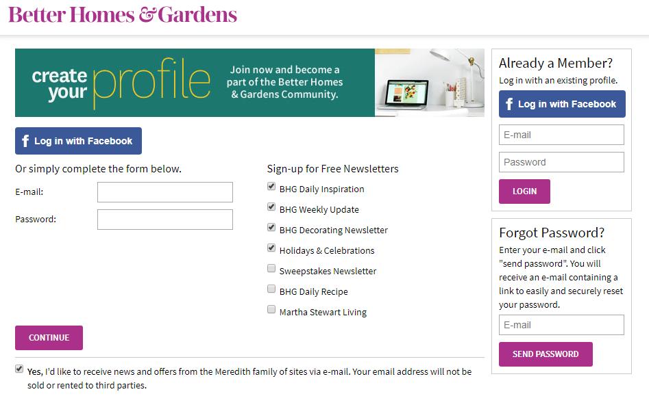 Better Homes and Gardens Registration