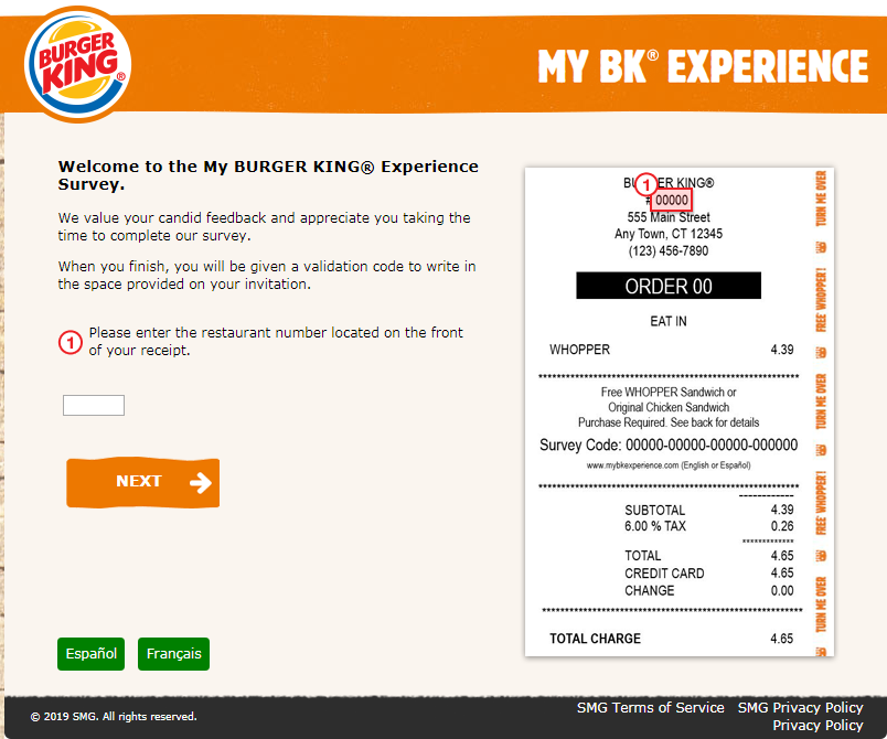 Participating in MyBKExperience Survey by Burger King for free Whopper