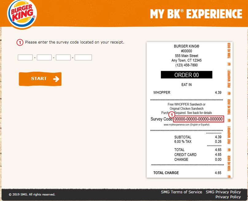 Participating in MyBKExperience Survey by Burger King