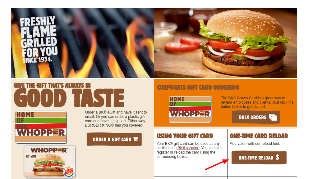 BURGER KING gift card one time reload
