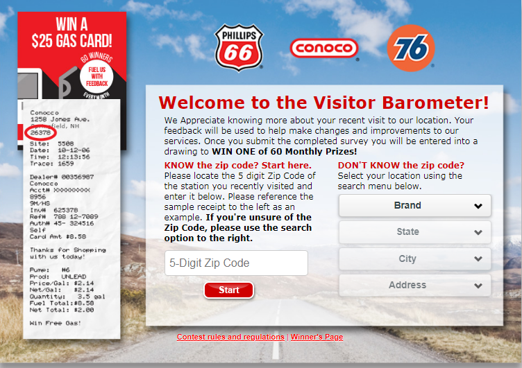 Guidelines To 76 Gas Visit Survey To Win $25 Gas Card