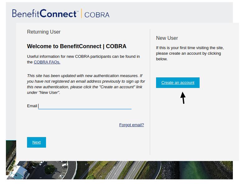 COBRA EHR Create Account