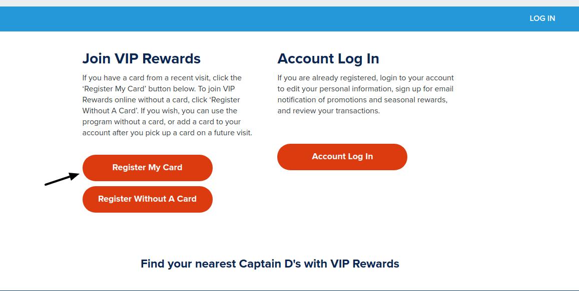Captain D s Register My Card