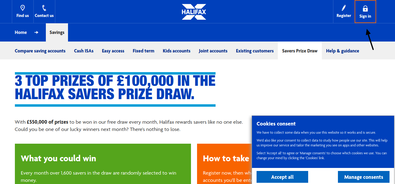 Halifax Prize Draw Login