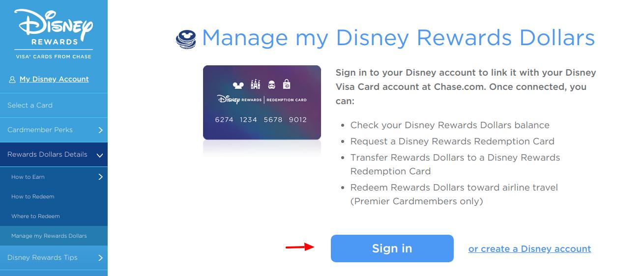 Disney Rewards Credit Card Sign iN