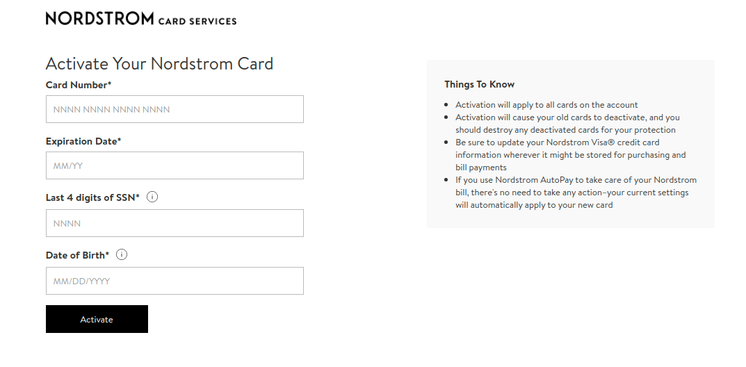 Nordstrom Card Activate