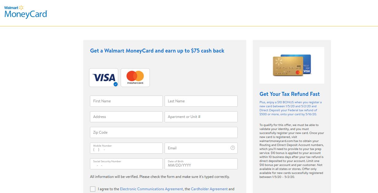 Walmart MoneyCard Enroll