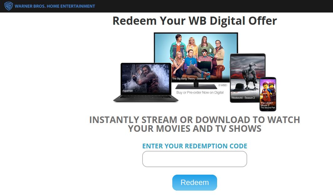 Warner Bros Digital Redemption Redeem