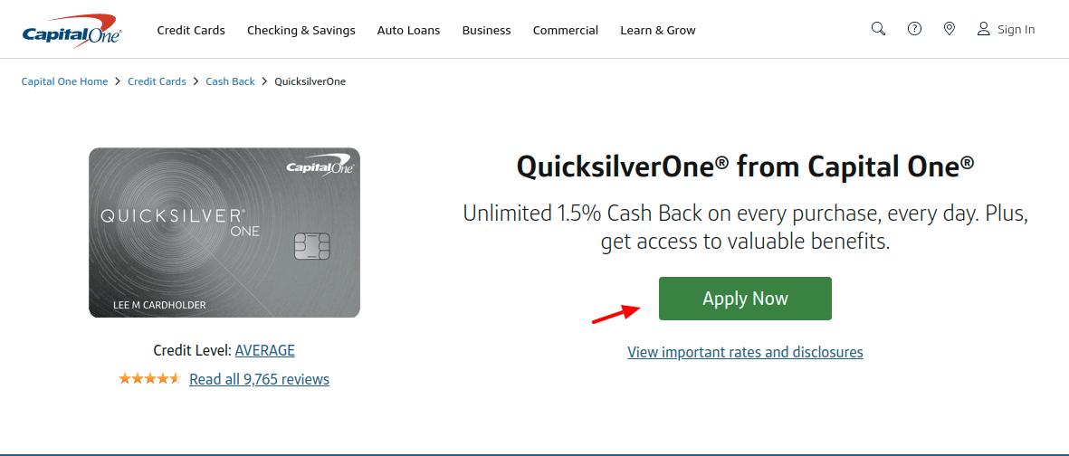 Capital One QuicksilverOne Card Apply