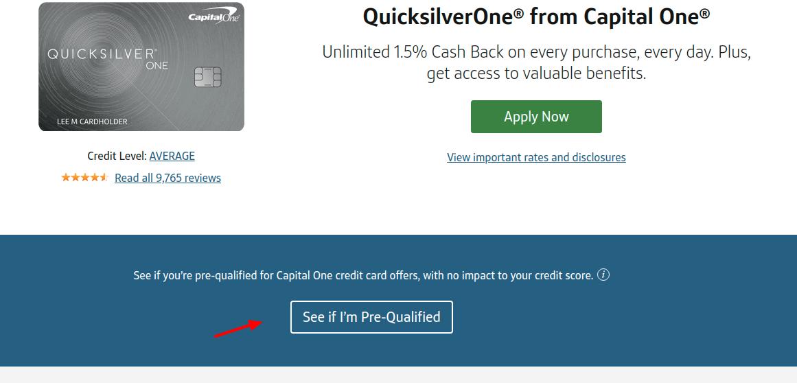 Capital One QuicksilverOne Card Pre-Qulify