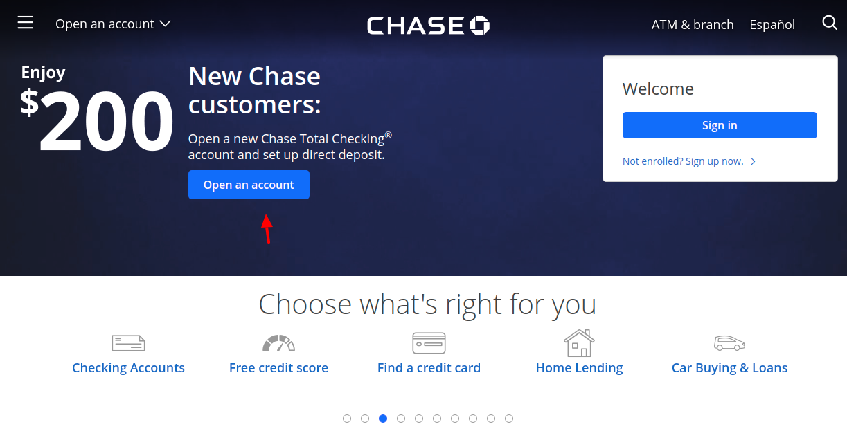 Chase Open Account