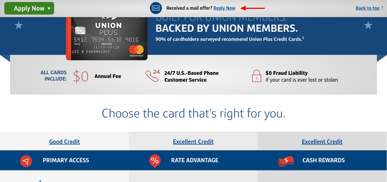 The Union Plus Credit Card Reply Now