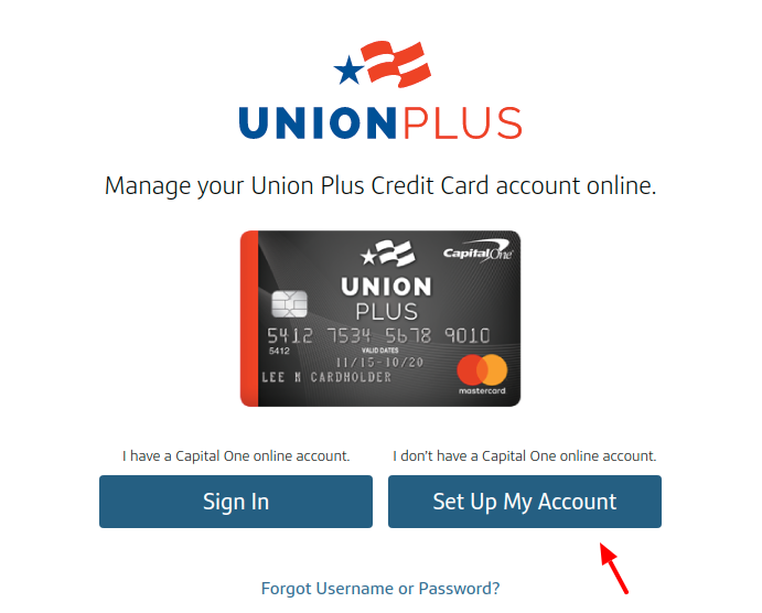 The Union Plus Credit Card Set Up Account