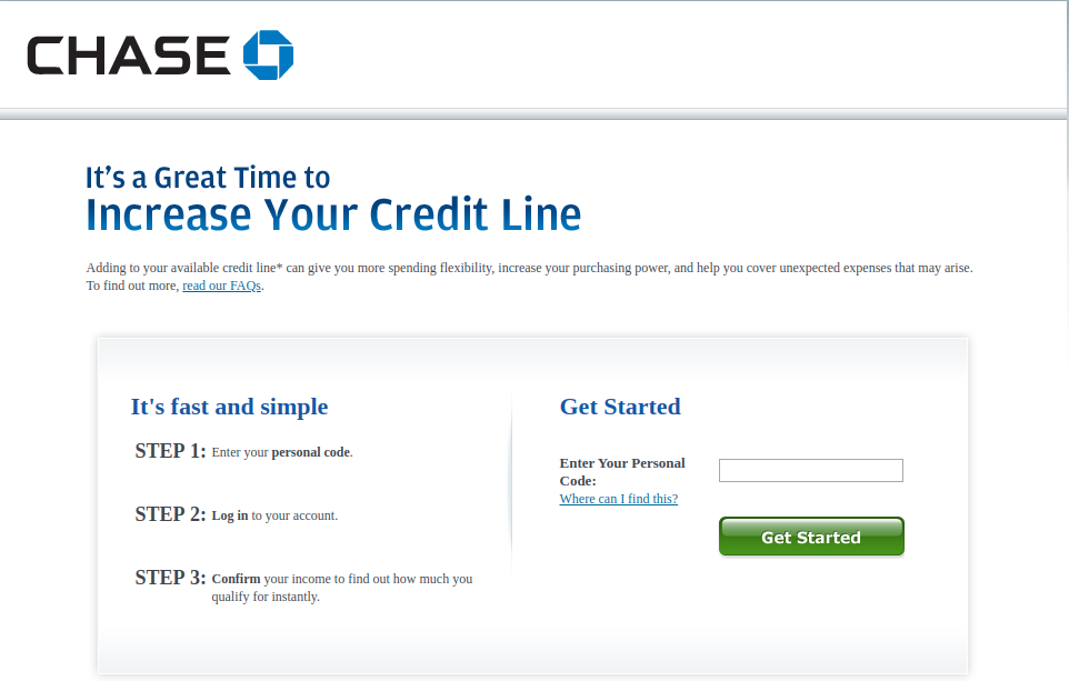 Increase Chase credit limit