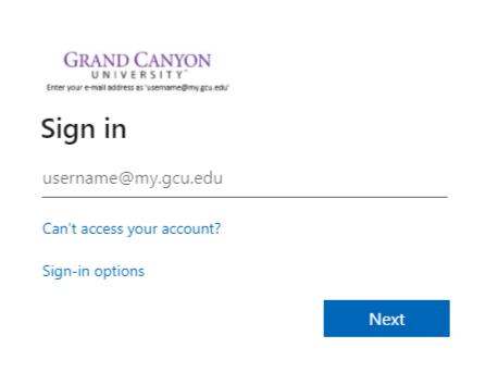 GCU Student login