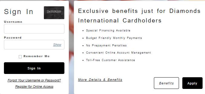 iamond International Credit Card Login